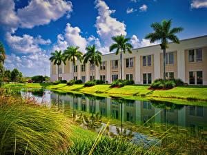 Hintergrundbilder USA Haus Florida Miami Kanal Palmen International University Städte