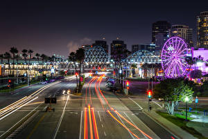 Photo USA Houses Roads California Night Street lights Ferris wheel Downtown Long Beach Cities