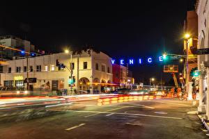Wallpaper USA Building Roads California Night time Street lights Street Venice Beach Cities