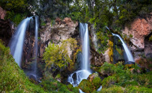 Picture USA Park Waterfalls Cliff Grass Rifle Falls State Park Colorado Nature