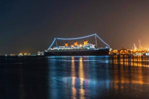 Bilder Vereinigte Staaten Schiff Kreuzfahrtschiff Kalifornien Bucht Nacht Lichterkette Queen Mary