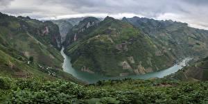 Fotos Vietnam Berg Flusse Felder Ha Giang Natur