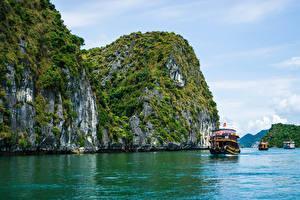 Fotos Vietnam Binnenschiff Bucht Felsen Ha Long Bay Natur