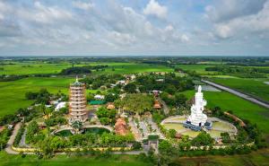 Bilder Vietnam Tempel Pagoden Acker Von oben Go Ken Pagoda Tay Ninh Städte