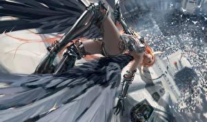 Hintergrundbilder Engel Fallen Bein Rüstung Wlop Fantasy Mädchens