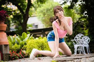 Fotos Asiatische Unscharfer Hintergrund Pose Shorts Dekolleté Braunhaarige Nett junge Frauen