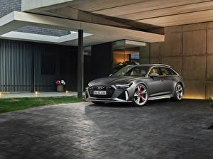 Photo Audi Grey Estate car 2019 RS 6 Avant Worldwide auto