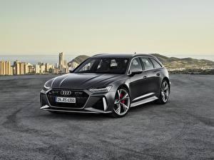 Wallpaper Audi Gray Station wagon Avant RS 6 2019 Cars