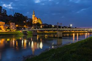 Fotos & Bilder Österreich Salzburg Haus Flusse Brücken Abend Städte