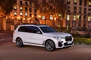 Hintergrundbilder BMW Weiß Metallisch 2019 X7 M50d auto