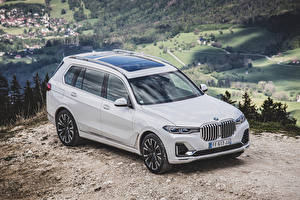 Fotos BMW Weiß Metallisch Kombi 2019 X7 xDrive30d Design Pure Excellence Worldwide