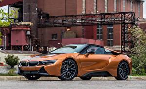 Desktop wallpapers BMW Orange Metallic Roadster 2019 i8 Cars