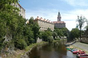 Image Boats Czech Republic Tower Canal Cesky Krumlov Cities
