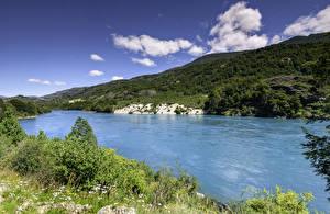 Fotos Chile See Hügel Gras Patagonia Natur