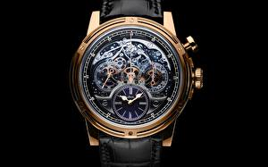 Images Clock Watch Closeup Black background Gold color Mechanism Gear Louis Moinet Memoris