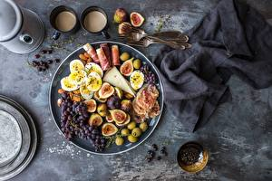 Pictures Figs Bacon Grapes Cheese Olive Eggs Food