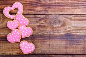 Sfondi desktop Biscotti Festa di san Valentino Cuore Tavole Modello biglietto di auguri Cibo