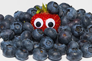 Wallpaper Creative Eyes Blueberries Strawberry White background Food