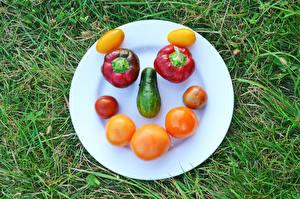 Bureaubladachtergronden Creatieve Tomaten Komkommers Paprika Gras Bord maaltijd Gezicht spijs