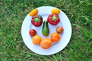 Pictures Creative Tomatoes Cucumbers Bell pepper Grass Plate Face Food