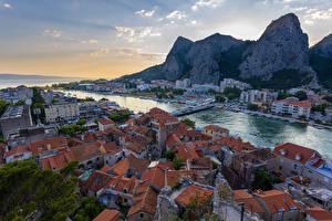 Pictures Croatia Houses Bridges Marinas Evening Crag Bay  Cities
