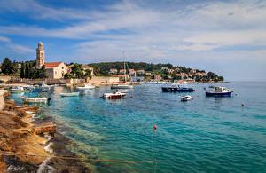 Wallpaper Croatia Houses Berth Speedboat Coast Bay Hvar Cities