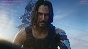 Bureaubladachtergronden Cyberpunk 2077 Keanu Reeves Mannen Kapsel Bebaarde Snor Kijkt Mooi videogames Beroemdheden