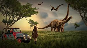 Pictures Dinosaurs Jeep Grass Fantasy Girls