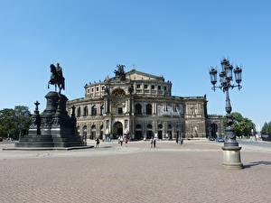 Fonds d'écran Dresde Allemagne Monument Place de la ville Réverbère Semper Opera
