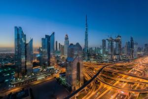 Images Dubai Skyscrapers Emirates UAE Roads Houses Morning Megalopolis Cities