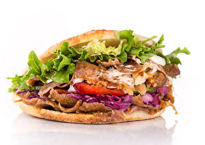 Photo Fast food Sandwich Vegetables White background Food