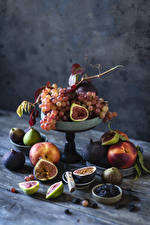 Image Fruit Grapes Figs Peaches Blueberries Still-life Food