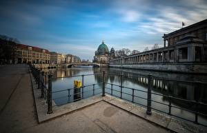 Photo Germany Berlin Rivers Bridge Houses Waterfront Reichstag Cities
