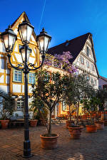 Wallpapers Germany Houses Street lights Street Besigheim Cities