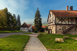 Fotos & Bilder Deutschland Haus Stiege Gras Fichten Marbach Ludwigsburg Städte