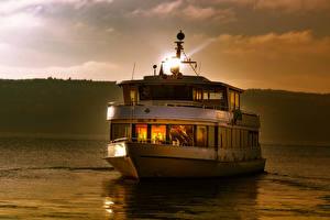 Hintergrundbilder Deutschland See Abend Binnenschiff Lake Constance Natur