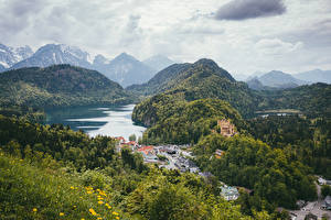 Wallpaper Germany Mountains Lake Houses Castle Forests Landscape photography Hohenschwangau Bayern Nature