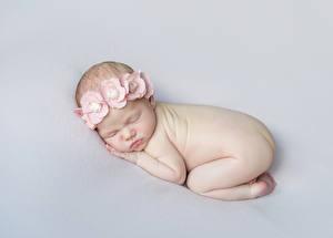 Bilder Grauer Hintergrund Säugling Schläft