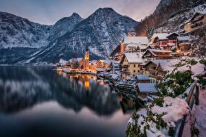 Hintergrundbilder Hallstatt Österreich Haus Berg See Winter Abend Schnee Städte