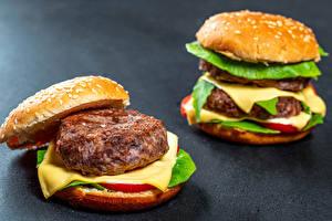Fotos & Bilder Hamburger Brötchen Frikadelle Käse Zwei Lebensmittel