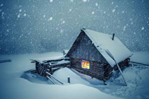 Fotos Haus Winter Schnee Hölzern Städte