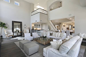 Wallpaper Interior Design Living room Sofa Wing chair Pillows