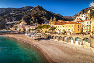 Images Italy Amalfi Houses Coast Mountains Beaches Cities
