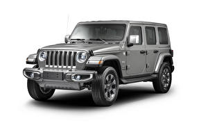 Fotos Jeep Weißer hintergrund Sport Utility Vehicle Grau 2019 Wrangler Unlimited Overland Latam Autos