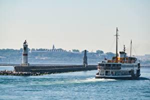 Bakgrunnsbilder Fyr Et skip Tyrkia Istanbul Byer