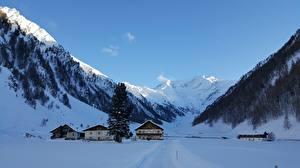 Hintergrundbilder Gebirge Österreich Haus Alpen Schnee Dorf Zillertaler Alpen, Schmirntal