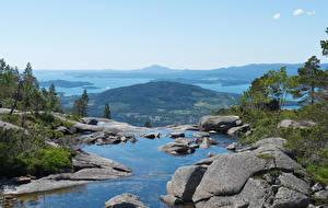 Hintergrundbilder Norwegen Küste Stein Bucht Hügel Husnes Natur