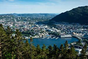 Bilder Norwegen Gebäude Bootssteg Brücke Bucht Bergen