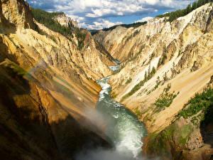 Bilder Park Flusse USA Yellowstone Felsen Canyon Wyoming Natur