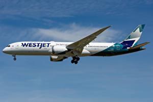 Hintergrundbilder Verkehrsflugzeug Boeing Seitlich WestJet, 787-9